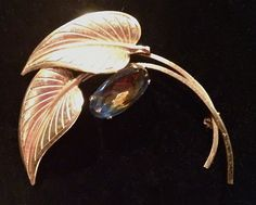 Gold Brooch Leaf Design with Watermelon Stone by WhirleyShirley, $18.00