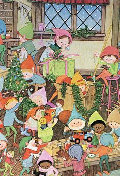 Gyo Fujikawa Copyright 1979 There is so much to look at in her pictures, I wonder how long it took her to finish this? Winter Illustration, Christmas Illustration, Children's Book Illustration, Vintage Christmas Images, Retro Christmas, Christmas Holidays, Christmas Cards, Ghost Of Christmas Past, Theme Noel