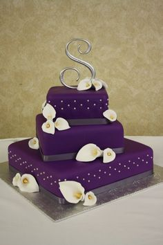 wedding cake - purple wedding cake with hand made calla lilies