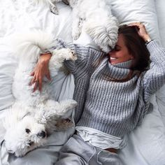 Stay in bed kind of day ❤ www. Hygge, Chill Pill, Stay In Bed, Girls Best Friend, Look Fashion, Puppy Love, Fur Babies, Nerd, Girly