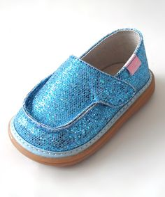 Look what I found on #zulily! Mooshu Trainers Teal Sparkle Squeaker Shoe by Mooshu Trainers #zulilyfinds