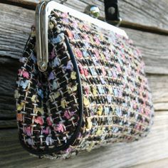 Small Clutch Purse in Heather Tweed Multi Colors Pockets Lined Ball Snap | eBay-equisthetiqs