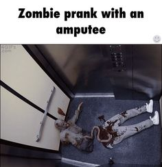 Zombie prank with an amputee