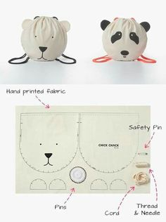 Patron sac enfant - kid's drawstring backback bag kits - every second month they will add a new kit with a stylish and unique design Chick Chack Fabric Crafts, Sewing Crafts, Sewing Projects, Diy Projects, Sewing For Kids, Diy For Kids, Sewing Tutorials, Sewing Patterns, Sewing Hacks