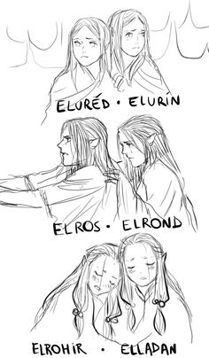 Twins-Eluréd and Elurín, Elrond and Elros, Elrohir and Elladan. But where is Amrod or Amras? Tolkien Books, Jrr Tolkien, Das Silmarillion, Lotr Elves, Legolas And Thranduil, Elf Art, O Hobbit, High Fantasy, The Elf
