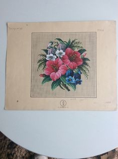 Antique Berlin Woolwork Pattern for embroidery, Bulle and Jerwan flowers floral | eBay