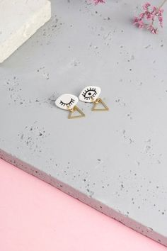 Mild up assertion small earrings handcrafted and handpainted jewellery gold titanium messages assured nickel free Boho Artsy Boho-