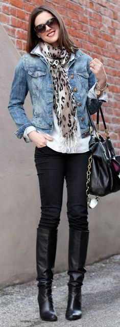 White oversized shirt + jean jacket + black skinny jeans + leopard scarf + boots