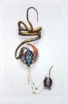 Alphonse Mucha and Georges Fouquet. Bijoux Art Nouveau, Art Nouveau Jewelry, Jewelry Art, Antique Jewelry, Vintage Jewelry, Fashion Jewelry, Jewelry Design, Bracelet Serpent, Ruby Bracelet