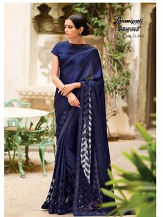 Diy saree. Laxmipati Jute Patta Designer Printed Saree in Navy Blue colour