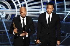 2015 Oscars: See All The Photos!   Billboard Common and John Legend receiving their Oscar for Best Song, Glory. Their performance of the song brought the audience to tears and earned them a standing ovation.