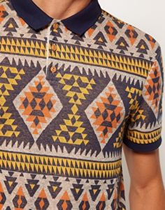 Enlarge River Island Aztec Diamond Polo T-Shirt