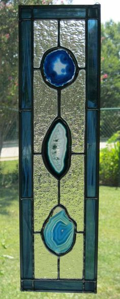 Blue and Clear Stained Glass Suncatcher with Agates by Nanantz, $50.00
