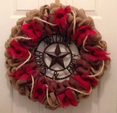 Burlap Western Wreath Red Brown And Natural With Metal Welcome Sign