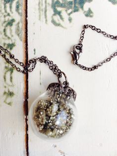 Pyrite Glass Necklace by DanasLegacy on Etsy