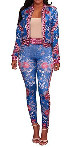64d9d569b137 MLG Womens Sexy Zip Up Jacket and Print Pants Slimming Bodycon Outfit Blue  3XS Bodycon Outfits