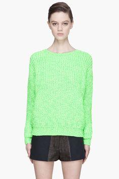 Kenzo Fluorescent Green Thick_knit Sweater -  Kenzo Fluorescent Green Thick_knit Sweater Kenzo Long sleeve ribbed knit sweater tones of fluorescent green. Raised ribbed texture throughout. Ribbed knit crewneck collar. cuffs. and hem. Metallic gold_tone logo piece at front hem. Tonal stitching. Price $455.00