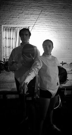 Jack Britt High School fencers Faiz Nazir and Megan Patterson at the All-American Fencing Academy. #weallplayswords #wedareyounottoloveit #downtownfayettevillenc #bucaneerswithrealswords #jackbritthighschool