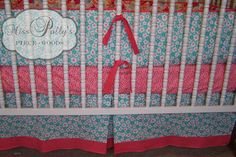 Baby Bedding Dust Ruffle-- Design Your Own-- Tailored Crib Skirt with Border. $120.00, via Etsy.