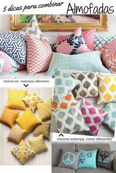 Combinar almofadas de forma correta. como combinar estampas para almofadas. decore o seu sofá. almofadas para sofá. almofadas estampadas