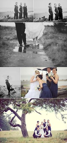 rainy wedding party - make sure the photographer gets some candid shots! #rainydayhijinks