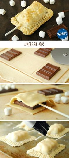 S'mores Pie Pops A s'more is a quintessential summer dessert. These S'mores Pie Pops captures the goodness of s'mores in a flaky pie crust. Use Pillsbury refrigerated pie crust and they're ready in under 20 minutes! Easy Desserts, Delicious Desserts, Dessert Recipes, Yummy Food, Tasty, Think Food, Love Food, Smores Pie, Refrigerated Pie Crust