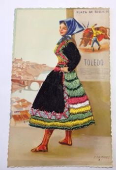 Spanish Dancer, Dress Card, Vintage Cards, Snow White, Applique, Embroidered Dresses, Costumes, Embroidery, Silk