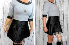 PROMOCJA!!     WYJĄTKOWA Włoska Sukienka PIKOWANA Eko Skóra stylowa szarość/czerń  http://allegro.pl/new-oryginal-sukienka-pikowana-eko-skora-promocja-i4956706580.html