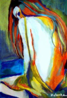 Helenka (©2013 artmajeur.com/helenka) Abstract Seated Female Figure Painting. Media: Acrylic on canvas. Size: 28x41 cm. (11.1x16.4 in.)