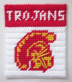 USC Trojans tissue box cover in plastic canvas by AuntCCcreations, $2.00