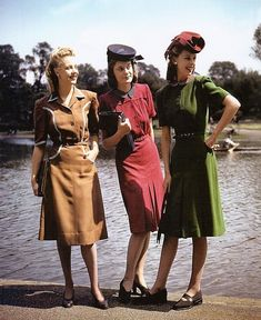 A trio of lovely hued WWII era fashions, 1940s.