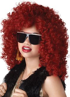 WOMEN/'S 80/'S DISCO PARTY BIG HAIR 2 TONE AFRO POP STAR WIG FANCY DRESS ACCESSORY