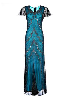 Sandra Blue Embellished Dress, 1920s Great Gatsby Style Dress, Special Occasion Dress, Long Sequin Maxi Gown, 20s Plus Size Dress, M-XXL by Jywal on Etsy