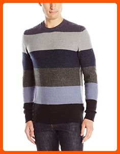 2a419d3b91e French Connection Men's Feltet Stripe Knits Crew Neck Sweater, Marine Blue/Dark  Grey,