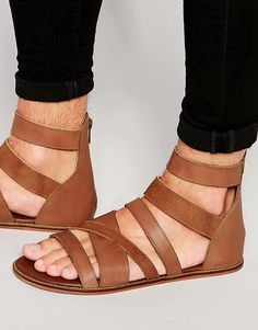 Image 1 of ASOS Gladiator Sandals in Tan Leather