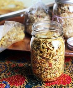 , you may be thinking. That's right: salty, crunchy, curry-spiked granola studded with toasted pecans and browned coconut chips. Granola Barre, Pots, Healthy Snacks, Healthy Recipes, Savory Snacks, Veg Recipes, Yummy Recipes, Recipies, Portable Food