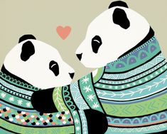 Heart to Heart, Pandas Love is in the air with these adorable panda bears illustrated by #emmasegal in the #hearttoheart series. nursery art, baby art, mom and baby, panda bear, pandas, fine art prints, #ednasroom