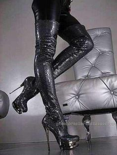 Awesome thigh high black textured platform heel boots #platformhighheelslatex