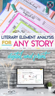 With these graphic organizers, level up literary element analysis for middle and high school students. Activities include analyzing characters, setting, plot, and theme and are aligned to Common Core Standards. #DistanceLearning #LiteraryAnalysis #MiddleSchoolELA #HighSchoolELA
