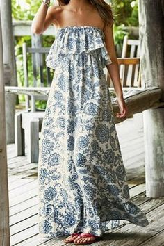 Vintage Strapless Flounce Printed Maxi Dress For Women Maxi Dresses | RoseGal.com Mobile