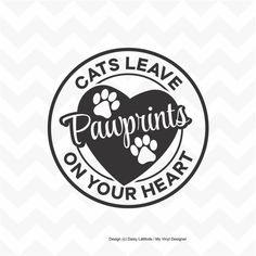 Cats leave paw prints on your heart vinyl sticker by Tonalidesigns