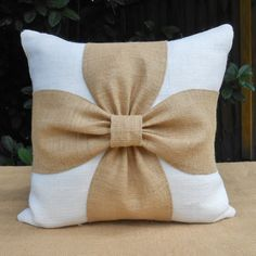 Burlap bow pillow cover in white or brown and by LowCountryHome-want to DIY this with the wedding linen