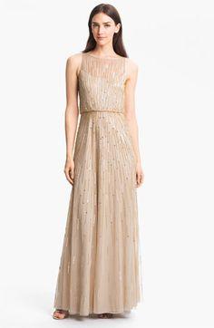 Aidan Mattox Illusion Yoke Sequin Mesh Gown | Nordstrom $420 Faux vintage  -LOVE