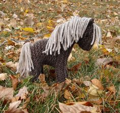 Horse Pony Knit Wool Toy  brown natural waldorf by SnapdragonToyCo, $31.00