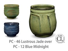 AMACO Potter's Choice layered glazes PC-12 Midnight Blue and PC-46 Lustrous Jade.