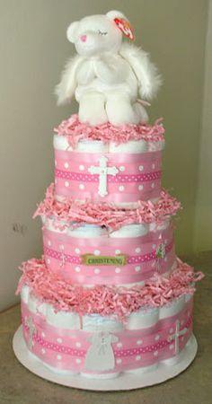 Baptism Christening Diaper Cake Boy or Girl Baby by BabyCakesMN, $59.00