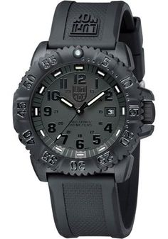 1559f8ac739 Luminox Evo Navy Seal Blackout Mens Watch Black carbon-reinforced polymer  case with a black rubber strap. Black dial with luminous hands and black  Arabic ...