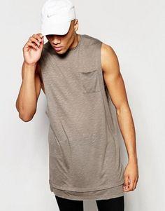 Camiseta sin mangas extralarga en tejido moteado con bajo alargado de ASOS