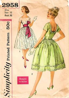 1950s Simplicity 2958 Vintage Sewing Pattern Misses Full
