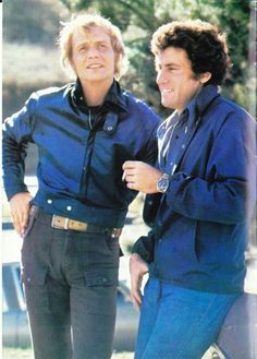 David Soul & Paul Michael Glaser (Starsky and Hutch) Cops Tv Show, David Best, Cagney And Lacey, Paul Michael Glaser, David Soul, 70s Tv Shows, Starsky & Hutch, American Series, Vintage Tv